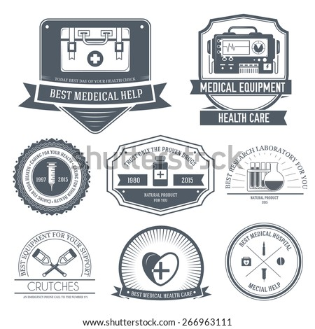 medical label template of emblem element for your product or design, web and mobile applications with text. Vector illustration with thin lines isolated icons on stamp symbol.  - stock vector