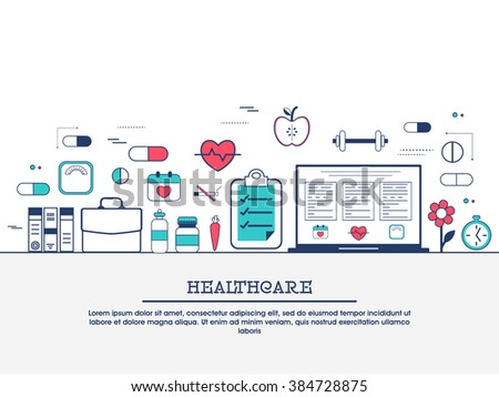 Medical laboratory with scientist doctor, healthcare research and diagnostics web banner, hero image, website slider. Line art vector illustration. - stock vector