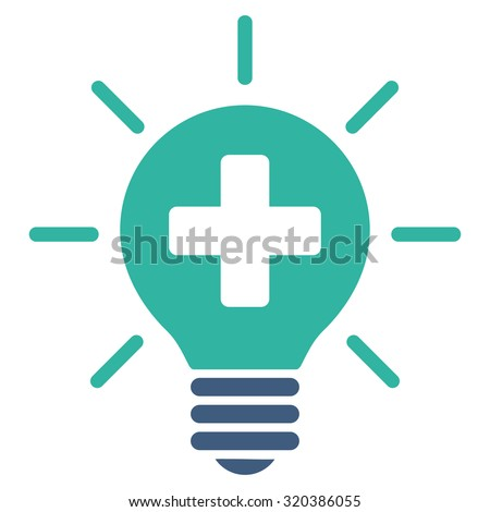 Medical Lamp vector icon. Style is bicolor flat symbol, cobalt and cyan colors, rounded angles, white background. - stock vector