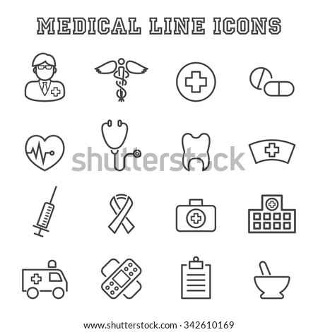medical line icons, mono vector symbols - stock vector