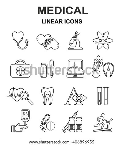 Medical linear icons. Medical vector black line style icon set.  - stock vector
