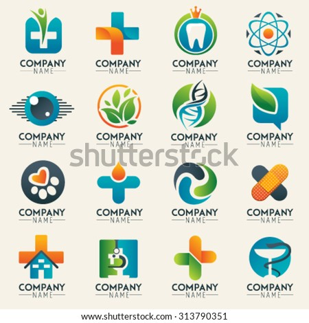 Medical logo icons set. Icons for medicine, healthcare, pharmacy, veterinarian, dentist. Unusual web icon and globe vector symbol. Graphic design easy editable for Your design. Modern logotype icon. - stock vector