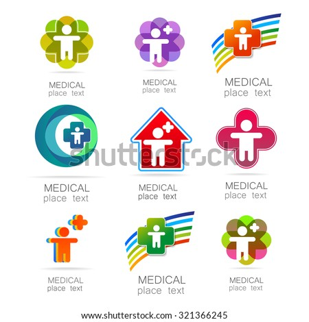 Medical logo - the concept for sign a medical institution, a center, foundation, organization, association, hospital. Vector collection.  - stock vector