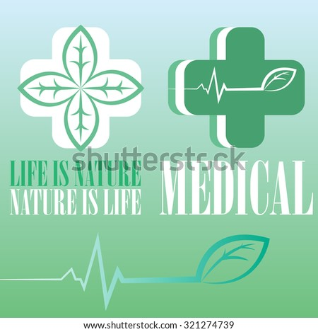 medical logo vector illustration about herbal and natural medicine - stock vector