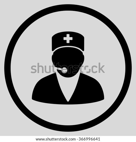 Medical Manager vector icon. Style is flat circled symbol, black color, rounded angles, light gray background. - stock vector