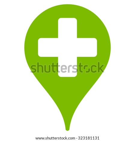 Medical Map Marker vector icon. Style is flat symbol, eco green color, rounded angles, white background. - stock vector