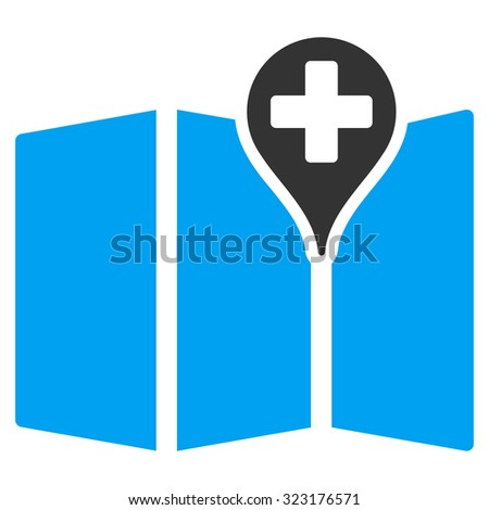 Medical Map vector icon. Style is bicolor flat symbol, blue and gray colors, rounded angles, white background.