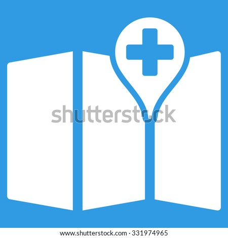 Medical Map vector icon. Style is flat symbol, white color, rounded angles, blue background.