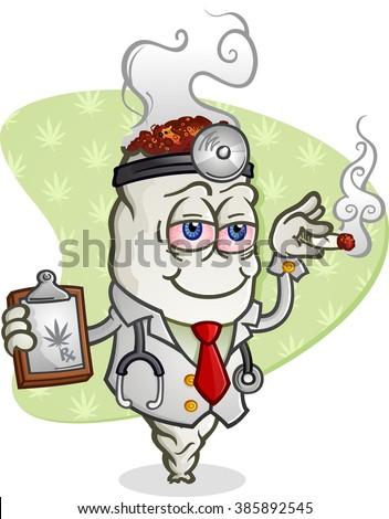 Medical Marijuana Doctor Cartoon Character - stock vector