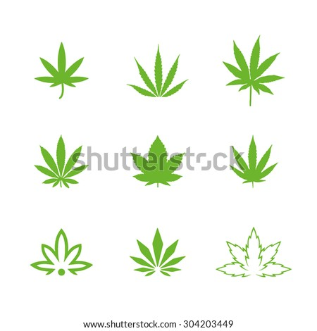 Medical marijuana icon set isolated on white background - stock vector