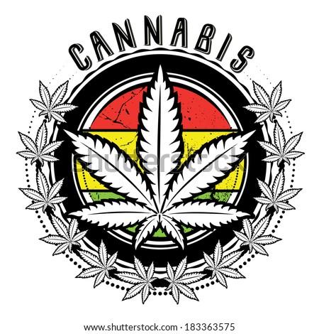 medical marijuana leaf symbol badge vector - stock vector