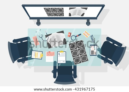 Medical office. Medical blank desktop. Medical audience with the educational board for training doctors. Training office. Vector illustration, flat design style. - stock vector