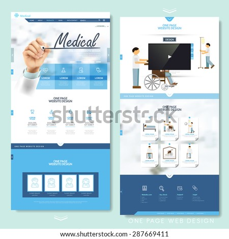 medical one page website design template in blue and white - stock vector