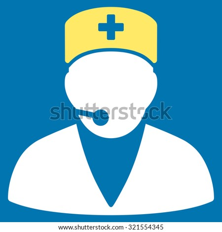 Medical Operator vector icon. Style is bicolor flat symbol, yellow and white colors, rounded angles, blue background.