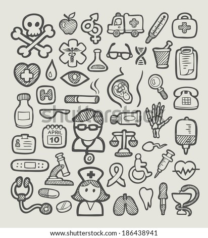 Medical or hospital icons spontaneous sketch icons. Good use for your website icons, symbol, or any design you want. Easy to use, edit or change color. - stock vector