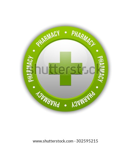 Medical or pharmacy cross badge on white background - stock vector