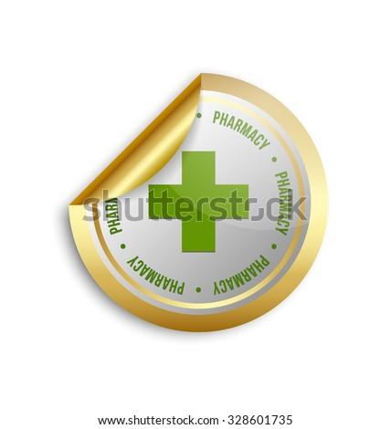 Medical or pharmacy cross sticker on white background - stock vector