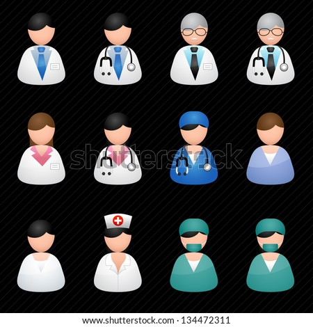 Medical people black background - stock vector