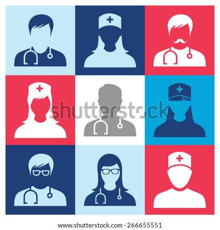 Medical - people Icons. Vector icons set. - stock vector