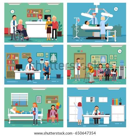 medical personnel work nurse doctor patientsのベクター画像素材
