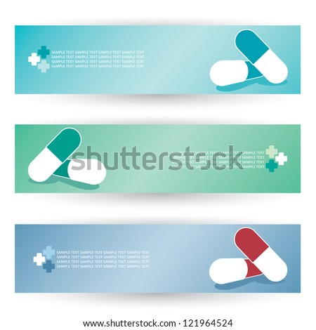 Medical pills headers - vector illustration