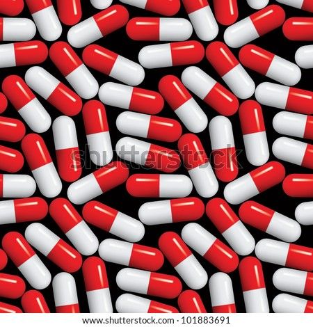 Medical pills seamless pattern, medicine vector background with standard red and white capsules over black. - stock vector