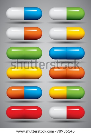 Medical pills set, different colors vectors collection. - stock vector