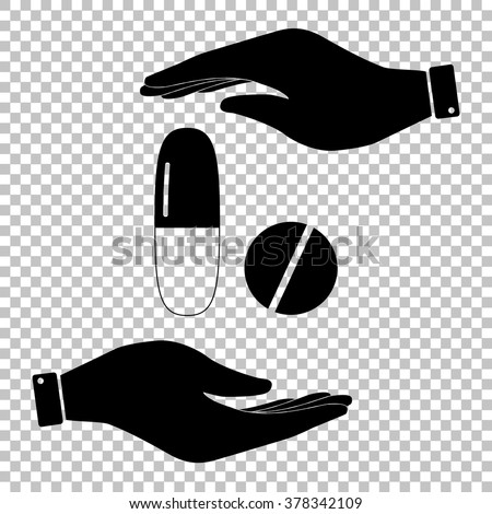 Medical pills sign. Save or protect symbol by hands. - stock vector