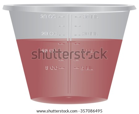 Medical plastic container with a measuring scale. Vector illustration. - stock vector