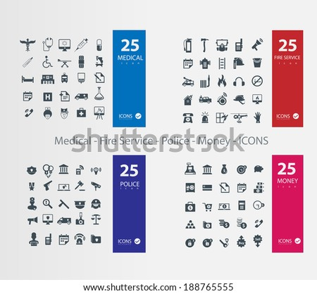 Medical Police Fire Service Money  ICONS - stock vector