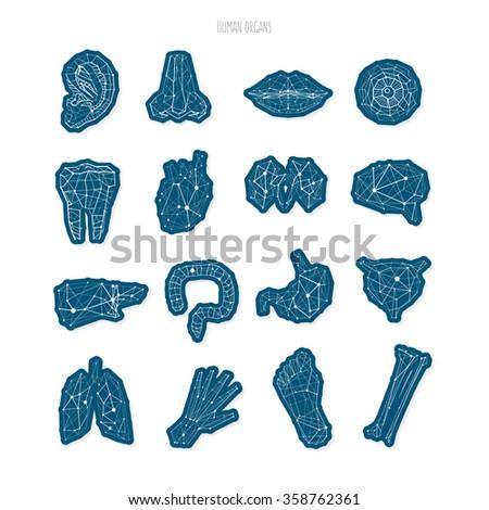 Medical Polygonal Dark Blue Color Symbols Stock Vector 2018