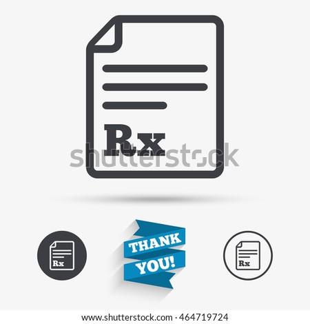 Medical Prescription Rx Sign Icon Pharmacy Stock Vector 464719724