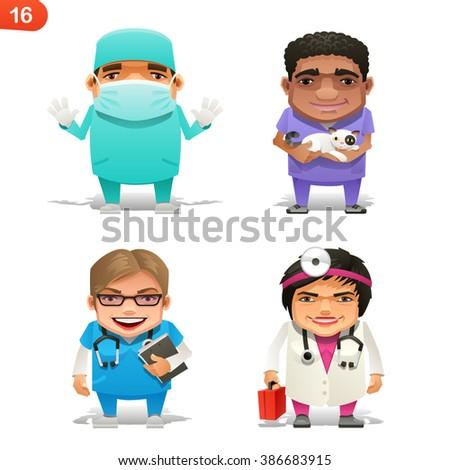 Medical professions set - stock vector