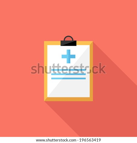 Medical record icon. Flat design style modern vector illustration. Isolated on stylish color background. Flat long shadow icon. Elements in flat design. - stock vector