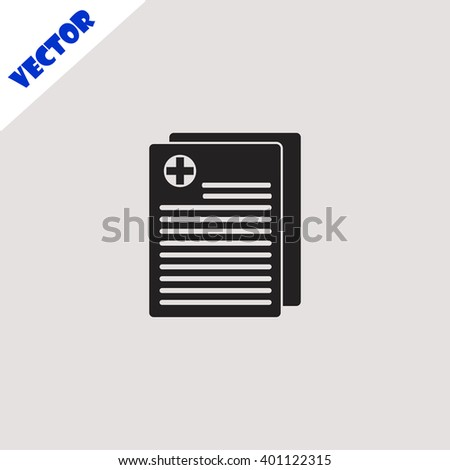 Medical records icon. Medical records vector. Grey icon on grey background. - stock vector