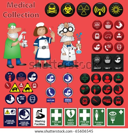 Medical related graphic collection including icons and cartoons - stock vector