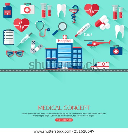 Medical research and Healthcare system concept background with place for text. Collection of flat medicine icons. Vector illustration.  - stock vector