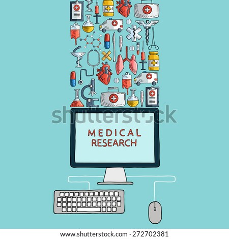 Medical research. Hand drawn health care and medicine icons with desktop computer. Vector illustration. - stock vector