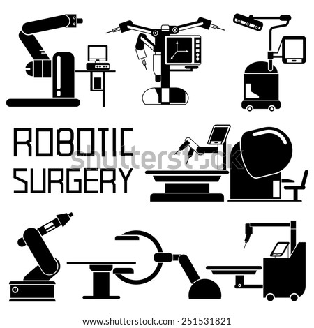 medical robot icons, robot-assisted surgery set, computer-assisted surgery - stock vector