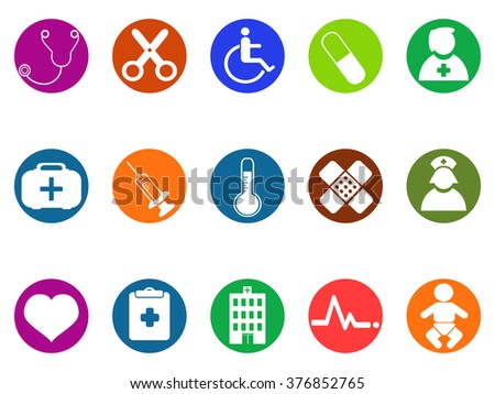 medical round button icons set - stock vector