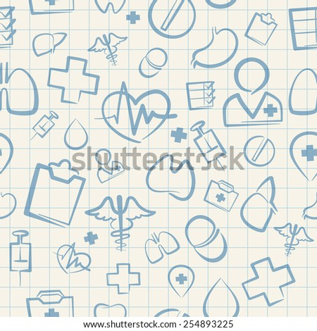 Medical Seamless Pattern on White Squared Paper Sheet. Editable pattern in swatches. - stock vector