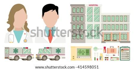 Medical set. Flat design. - stock vector