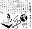 Medical set of black sketch. Part 101-2. Isolated groups and layers. - stock photo