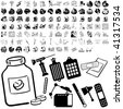 Medical set of black sketch. Part 102-4. Isolated groups and layers. - stock vector