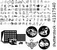 Medical set of black sketch. Part 102-6. Isolated groups and layers. - stock photo