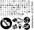 Medical set of black sketch. Part 102-7. Isolated groups and layers. - stock photo