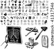 Medical set of black sketch. Part 102-8. Isolated groups and layers. - stock vector