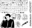 Medical set of black sketch. Part 103-10. Isolated groups and layers. - stock vector