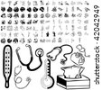 Medical set of black sketch. Part 103-14. Isolated groups and layers. - stock photo
