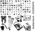 Medical set of black sketch. Part 105-9. Isolated groups and layers. - stock vector